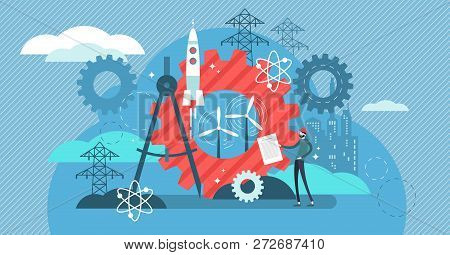 Engineering Vector Illustration. Professional Urban Architect Occupation. Project With Industrial Bu