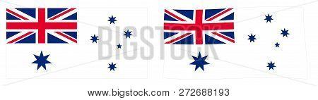 Commonwealth Of Australia Naval Flag Variant (australian White Ensign). Simple And Slightly Waving V