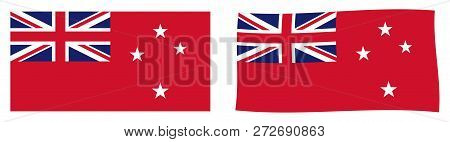 New Zealand Red Ensign Flag (used By Civilian Vessels). Simple And Slightly Waving Version.
