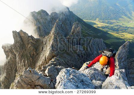 Alpinist on Koenigsjodler route