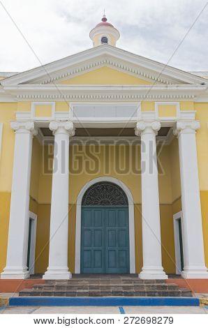 Front Facade Of School In Old San Juan Puerto Rico