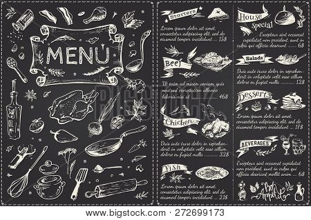 Vintage Menu Main Page Design. Hand Drawn Food Sketches Isolated On Black Chalk Board For Restaurant