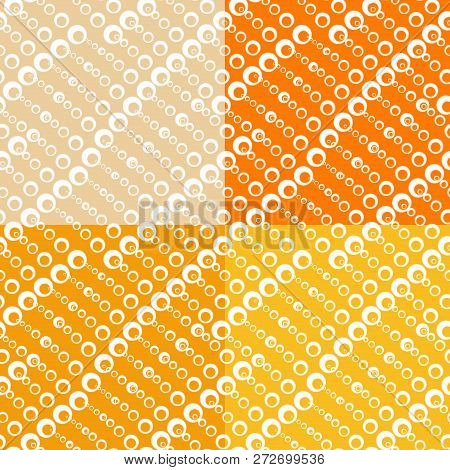 Set Of Seamless Textures With Circles Of Different Sizes. Fashionable Patterns Of Spring 2019. Brigh