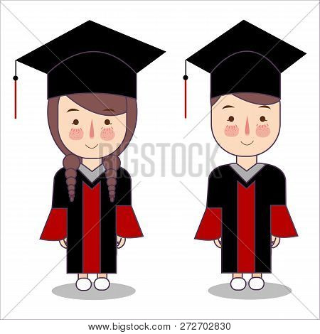 Vector Cartoon Style Kids Characters In Graduation Robe Toga Cap. Boy And Girl Pupil Isolated On Whi