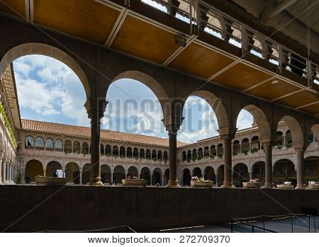 Cusco, Peru - Sep 12, 2018: Convent Of Santo Domingo Courtyard Inside The Qoricancha At Cusco. It Wa
