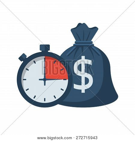 Quick Credit. Fast Money. Bag Of Money And Stopwatch. Loan In A Short Time. Business And Finance. Ti