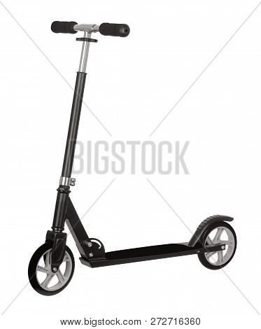 Black Scooter Isolated On A White Background With Clipping Path.