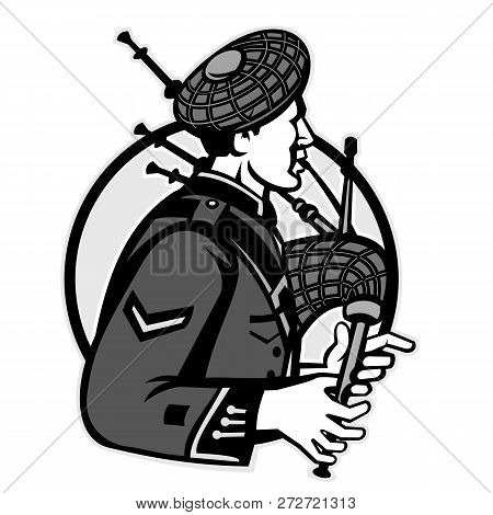 Illustration Of A Scotsman Bagpiper Playing Bagpipes Viewed From Side Set Inside Circle On Isolated