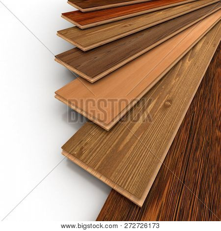 3D rendering of a variety of parquet floor planks in different woods