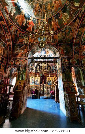 Interior of the Monastery of the Holy Trinity (1475), Meteora, Greece