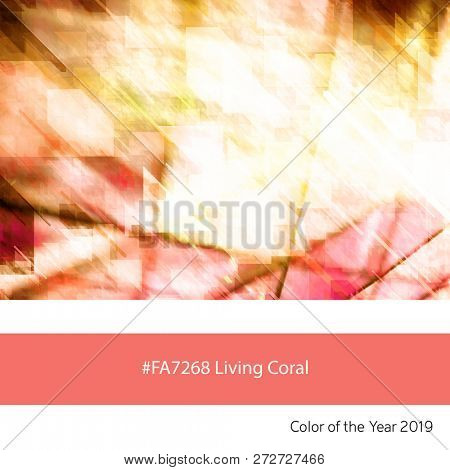 An architectural abstract background as an example of the trend colour of the year 2019, Living Coral, with corresponding colour hex code.