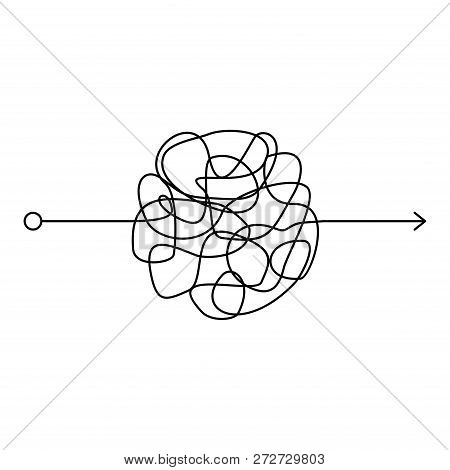 Insane Messy Line, Complicated Clew Way On White Background. Tangled Scribble Path, Chaotic Difficul