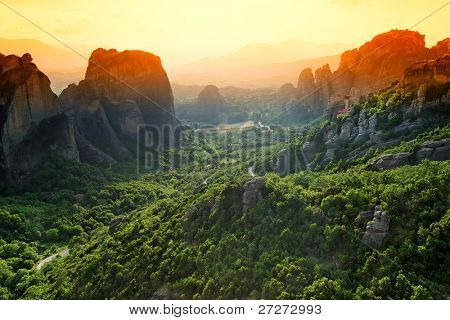 Sunset light over Meteora Monasteries, Greece