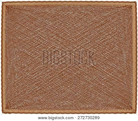 Jute Mat With Diagonal Pattern And Fringe In Brown, Beige Colors Isolated On White