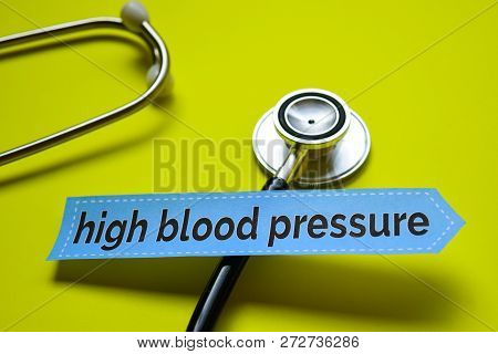 High Blood Pressure With Magnifying Glass Concept Inspiration On Yellow Background