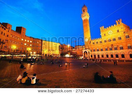 Piazza del Campo with Palazzo Pubblico, Siena, Italy poster
