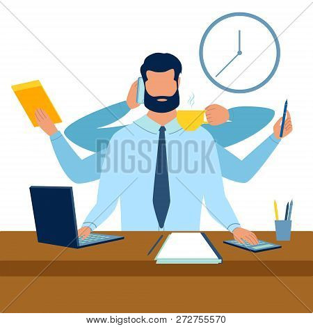 Businessman With Six Hands Multitasking Work Metaphor. Flat Style. Cartoon Vector Illustration