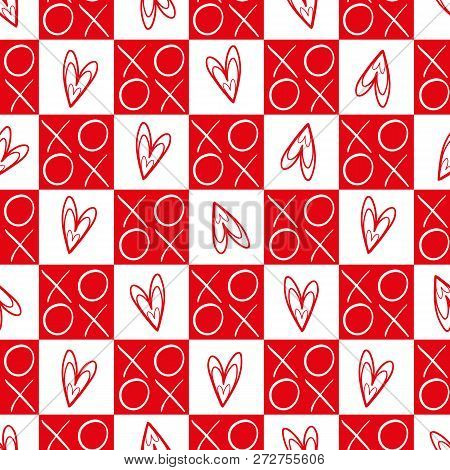 Stylish Red And White Checkered Hearts And Hugs And Kisses Seamless Vector Pattern. Great For Valent