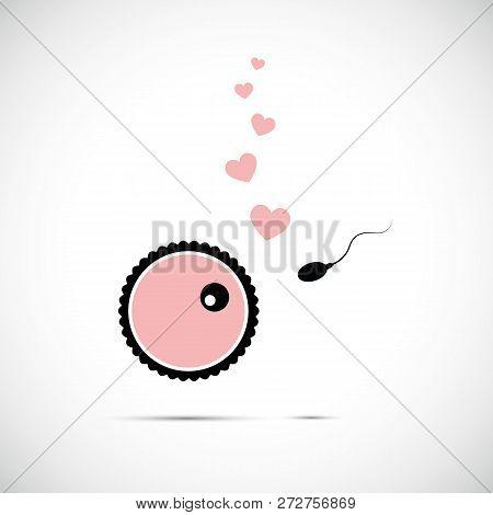 Fertility Reproduction Of Ovum And Spermatozoon Cartoon Vector Illustration Eps10