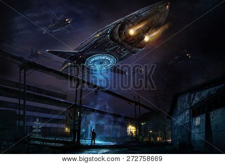 Industrial landscape with flying in the sky object resembling a spaceship, accompanied by a column of planes and a man filming everything on a mobile phone camera. Digital art.