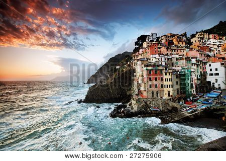 Sunset stormy light in Riomaggiore Village, Cinque Terre, Italy