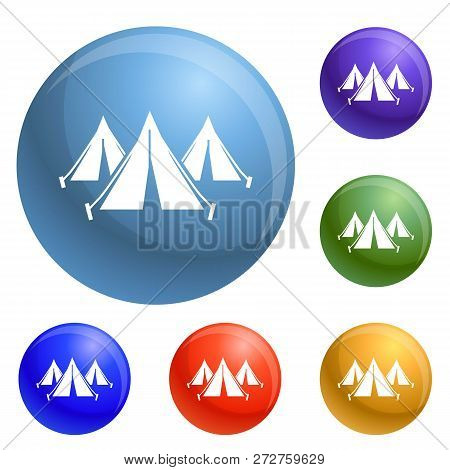 Refugee People Tent Camp Icons Set Vector 6 Color Isolated On White Background