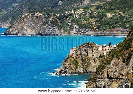 Aerial view of Manarola Village and Via del Amore, Cinque Terre, Italy