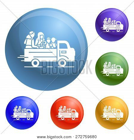 Truck Homeless Family Icons Set Vector 6 Color Isolated On White Background