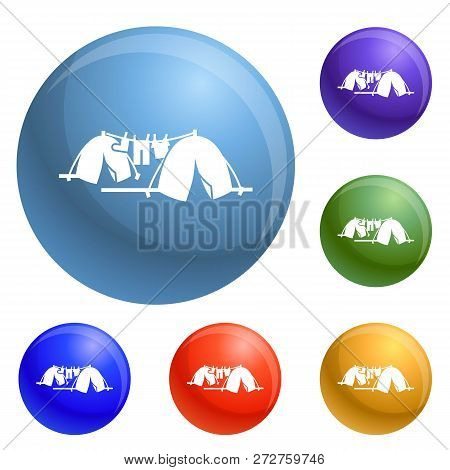 Homeless Tent Camp Icons Set Vector 6 Color Isolated On White Background