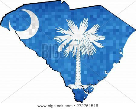 Grunge South Carolina Map With Flag Inside - Illustration,  Map Of South Carolina Vector,   Abstract
