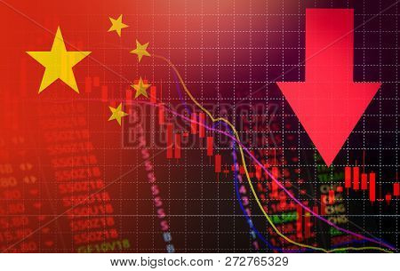 China Market Stock Crisis Red Price Arrow Down Chart Fall Flag Of China
