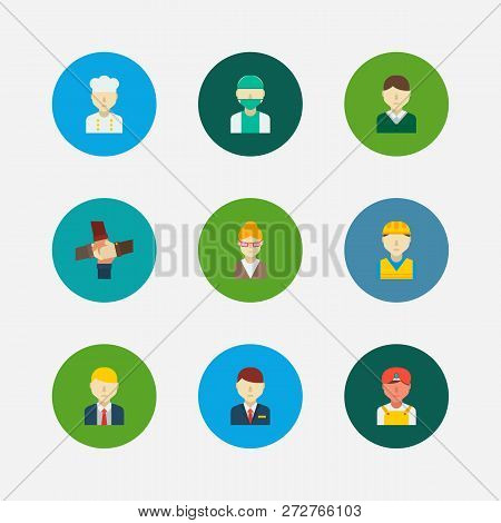 Professional Icons Set. Teamwork And Professional Icons With Chef, Construction Worker And Male Work