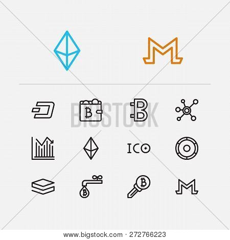 Crypto Currency Icons Set. Stock Price And Crypto Currency Icons With Coin Faucet, Ico Token And Alt