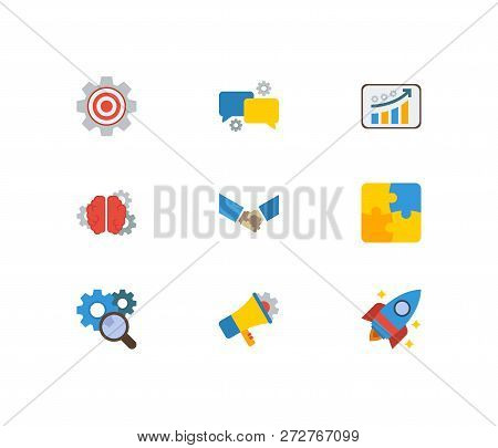Technology Cooperation Icons Set. Marketing And Technology Cooperation Icons With Brainstorming, Tec