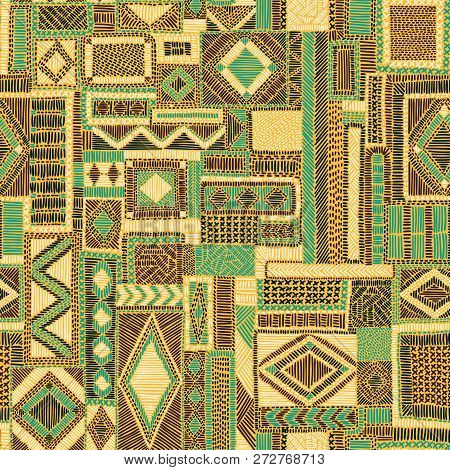 Seamless Embroidered Patchwork Pattern. Ethnic And Tribal Motifs. Print For The Carpet. Hand Drawn O