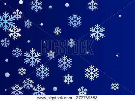 Crystal Snowflake And Circle Elements Vector Graphics. Windy Winter Snow Confetti Scatter Flyer Back