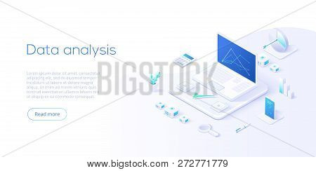 Data Analysis Isometric Vector Illustration. Abstract 3D Datacenter Or Data Center Room Background.