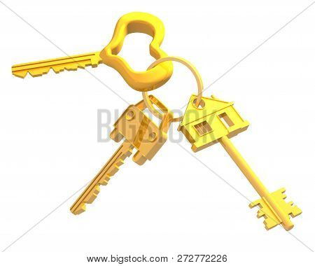 Bunch of keys. A bunch of golden keys from: home, car, heart beloved. Isolated. 3D Illustration poster