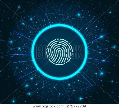 Fingerprint And Scanning System Of Prints Recognition. Authentication Method Of Fingermarks Scan. Id