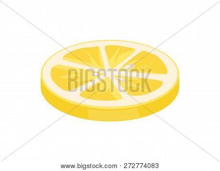 Lemon Citron Slice Citrus Piece Segments Of Juicy Sour Fruit Icon Closeup. Sliced Plant Used As Seas