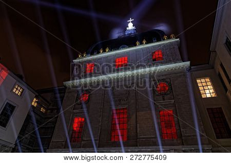 Lyon, France, December 6, 2018 : Hotel-dieu Building During Festival Of The Lights. For 4 Nights, Di