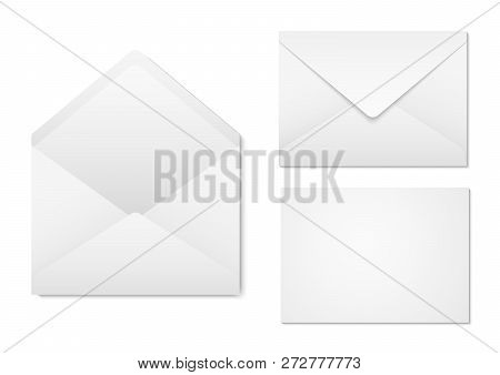 Blank Paper Envelopes For Your Design. Envelopes Mockup Front And Back View. Vector Envelopes Templa