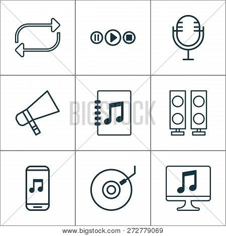 Music Icons Set With Megaphone, Microphone, Playlist And Other Mike Elements. Isolated Vector Illust