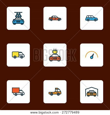 Car Icons Colored Line Set With Crossover, Tesla, Sedan And Other Speed  Elements. Isolated Vector I