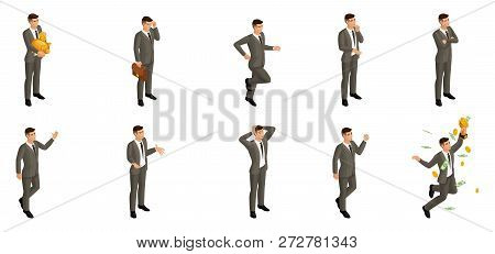 Isometric Man With Emotions, 3d Businessman, In Different Poses With Different Emotions And Movement