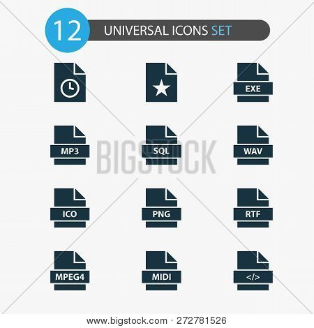 File Icons Set With Code, Wav, Favorite And Other Script Elements. Isolated  Illustration File Icons