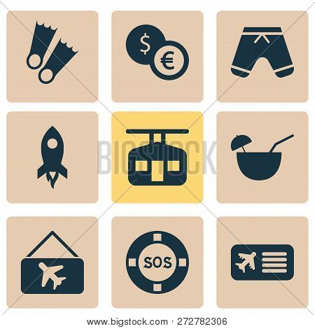 Tourism Icons Set With Lifebuoy, Picture Airplane, Flippers And Other Lifeguard Elements. Isolated V