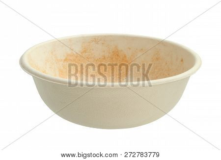 Unbleached Plant Fiber Food Bowl (with Clipping Path) Isolated On White Background