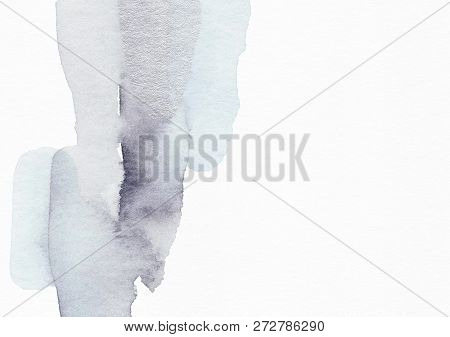 Elegant Hand Painted Winter Background. Minimalist Nordic Shiny Silver Backdrop. Stylish Scandinavia