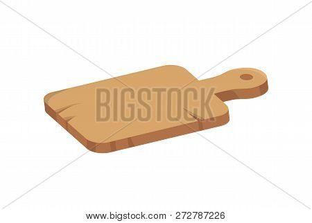 Wooden cutting board vector icon in cartoon style. Old scratched bred with handle and scratches, for cooking on kitchen, isolated single simple badge poster